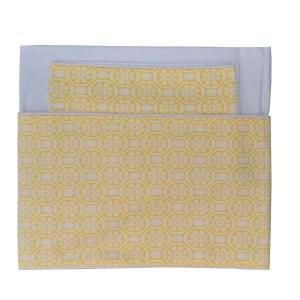 conjunto de lençol de berço 300 fios dobrado branco com barrado estampado amarelo