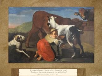 Arcangelo Resani(Roma, 1670 – Ravenna, 1740) | Giovinetta che munge una capra, con altri animali | Olio su prima tela, cm. 117 x 176.