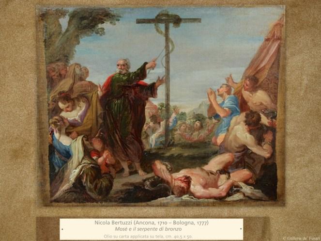 Nicola Bertuzzi (Ancona, 1710 – Bologna, 1777) | Mosè e il serpente di bronzo | Olio su carta applicata su tela, cm. 40,5 x 50.
