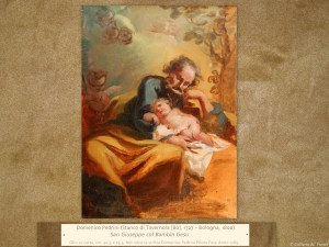 Domenico Pedrini (Stanco di Tavernola [Bo], 1727 – Bologna, 1800) | San Giuseppe col Bambin Gesù | Olio su carta, cm. 40,5 x 29,5. Nel retro la scritta Domenico Pedrini Pitore Fece Anno 1785.
