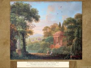 Giuseppe Canella | Paesaggio neoclassico con lago e templi