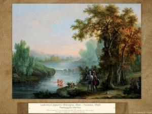 Ludovico Lipparini (Bologna, 1800 – Venezia, 1856) | Paesaggio storico | Olio su tavola in cornice dorata del XIX secolo, cm. 26,5 x 35,5. Firmato Lipparini in basso al centro.