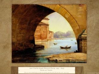 Jean Charles Joseph Rémond (Parigi, 1795 – 1875) | Ponte sul Tevere | Olio su carta applicata su tela in cornice dorata del XIX secolo, cm. 24,5 x 33.
