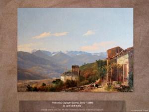 Francesco Capiaghi (Como, 1831 – 1898) La valle dell'Adda Olio su prima tela, cm. 44 x 58. Firmato sul telaio Francesco Capiaghi