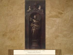 Giuseppe Varotti (Bologna, 1715 – 1780) | Allegoria della Giustizia | Olio monocromo su carta, cm. 39,7 x 17.