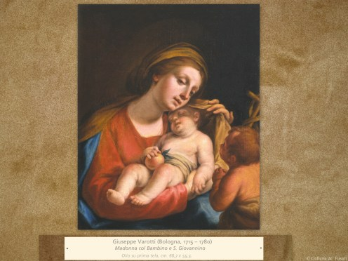 Giuseppe Varotti (Bologna, 1715 – 1780) | Madonna col Bambino e S. Giovannino | Olio su prima tela, cm. 68,7 x 55,5.
