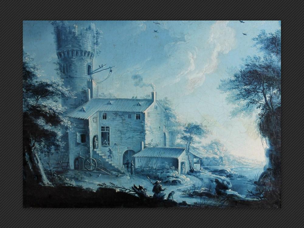 Jacques-André-Èdouard Vanderburch | Paesaggio in monocromo blu
