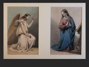 Alessandro Guardassoni, Angelo e Vergine | Due acquerelli su carta cm. 18 x 12