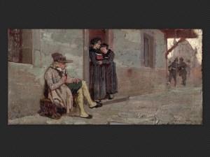 Luigi Serra, Lungo la via | Olio su tavola, cm. 11,5 x 23,5. Firmato.