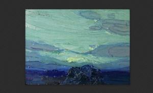 Ferruccio Scandellari - Paesaggio serale, olio su tavola, cm. 12 x 17,2