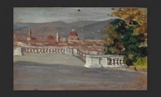 Artista toscano (fine XIX secolo) - Veduta di Firenze, olio su tavola, cm. 9 x 14,5