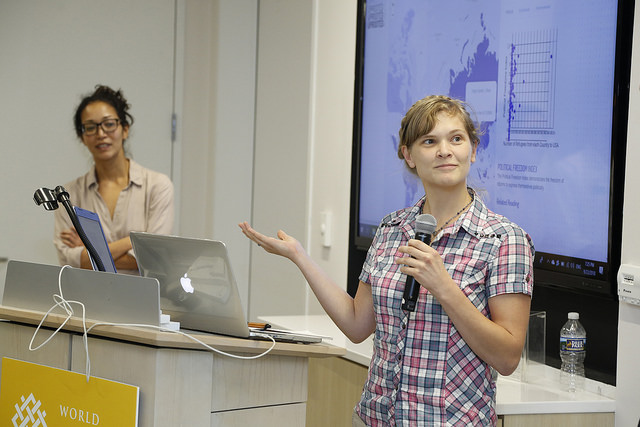 Women present their project at ImpactHack