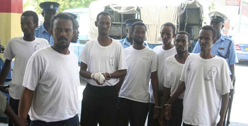 American naval forces arrested these Somali pirates as they attempted to hijack a German merchant ship.