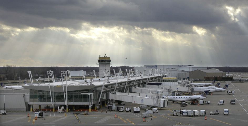 The sun breaks through heavy clouds at Cleveland Hopkins International Airport in Cleveland, Ohio.