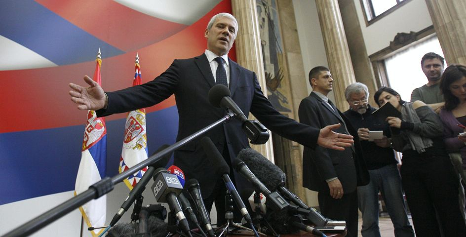 President Boris Tadic speaks during a press conference in Belgrade, Serbia, after talks with Serge Brammertz, chief U.N. war crimes prosecutor for the former Yugoslavia.