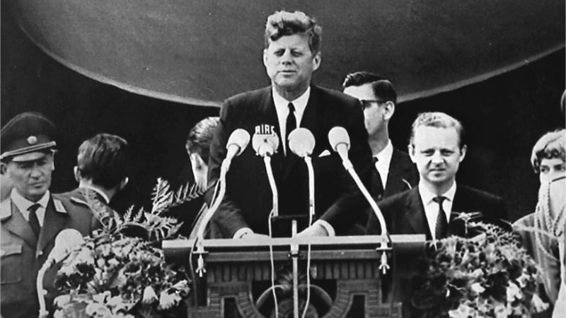 Photograph of U.S. President John F. Kennedy delivering his I Am a Berliner speech