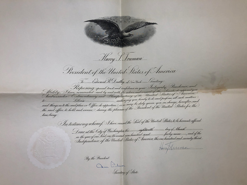 Commission Appointment of Edward R. Dudley as Ambassador to Liberia 1949