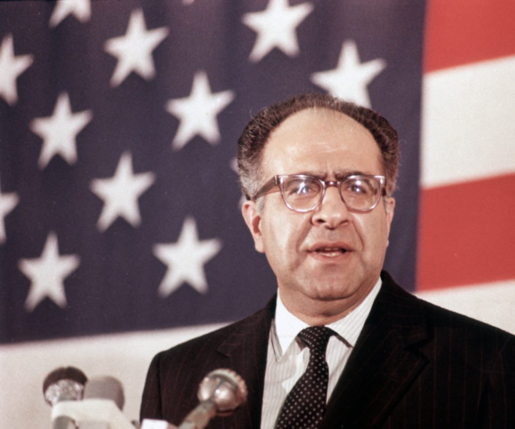 Philip C. Habib is shown speaking as chief negotiator for the United States at the Peace Talks between the U.S. and North Vietnam in Paris, France, 1970.