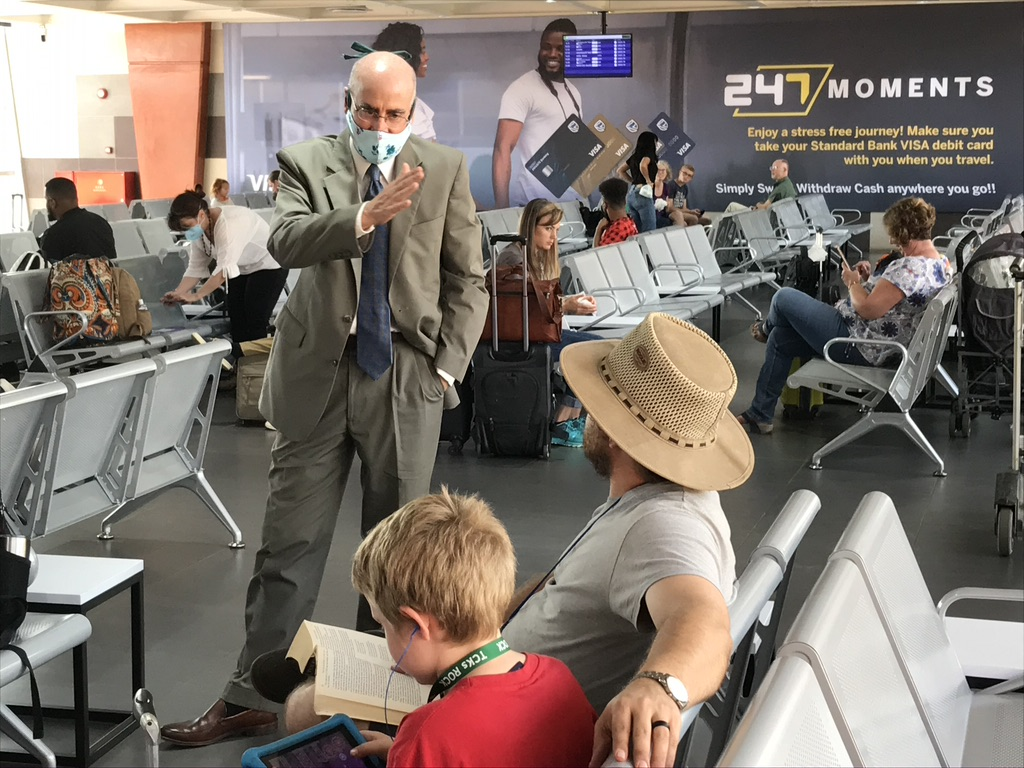 A Boeing 787-800 operated by Ethiopian Airlines departed on Friday April 24, 2020 from the Kamuzu International Airport (KIA) in Lilongwe with 74 American citizens. The flight was the first of its kind in Malawi since airspace closed on April 1. Ambassador Robert Scott greeted passengers. Photo courtesy of U.S. Embassy Lilongwe, Malawi