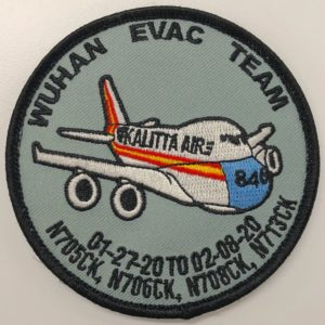 "To commemorate the multiple evacuation flights out of Wuhan, China, the crew of Kalitta Air created this patch that honors the efforts to bring #AmericansHome in quick succession. The ""846"" on the nose of the plane refers to the total number of people they evacuated. The numbers of each flight encircle the lower edge of the patch. Gift of Toby Ray, Kalitta Air Loadmaster, to the NMAD Collection"