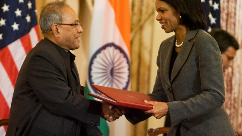 Secretary Rice Indian Foreign Minister Shaking Hands