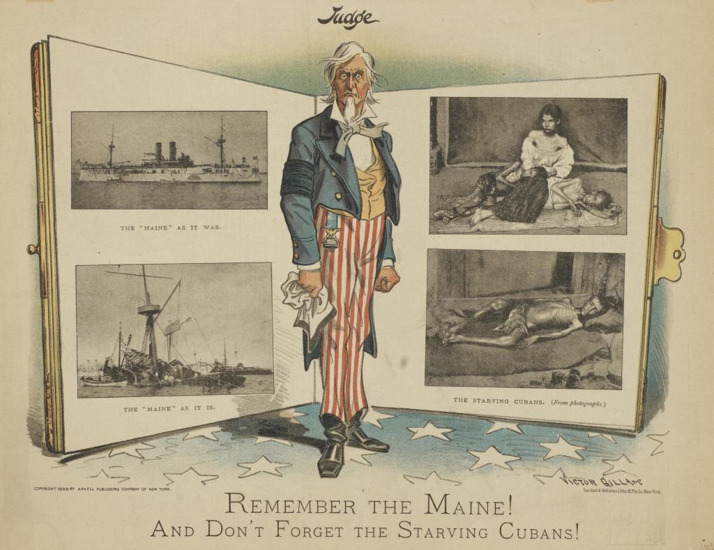 1898 Cartoon Remember the Maine and Don't Forget Cubans