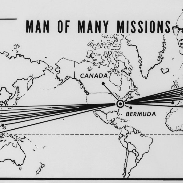 Presidential envoy Henry A. Kissinger arrived in Hanoi for scheduled four days of talks with North Vietnamese leaders on Washington's post-war Indochina policy, Feb. 10, 1973. Map shows some of the cities he traveled to in Asia at left, and in Europe, at right, from his Washington, D.C., base.