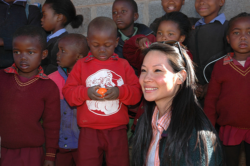 UNICEF Ambassador Lucy Liu and children in Lesotho.