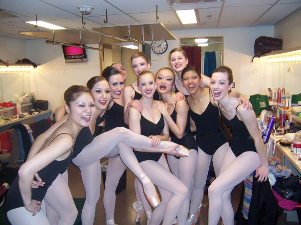 Some of our stars backstage. In this photo: Mako Nagasaki, Aurora Dickie, Liza Balough, Rui Huang, Laura Zimmerman, Mary Beatrice Saludares, and Beth Miller.