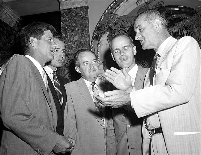 On Aug. 29, 1957, the day that he joined the Senate, William Proxmire, second from right, met with, from left, Senators John F. Kennedy, George Smathers, Hubert H. Humphrey and Lyndon B. Johnson.