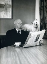 Alfred Hitchcock with his sealyham terrier