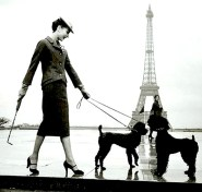 Audrey Hepburn with poodles in Paris