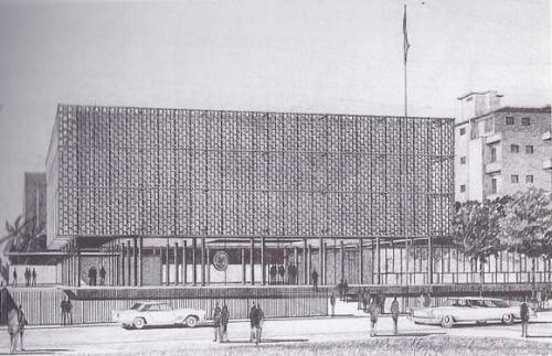 Proposal for the U.S. Embassy building in Beirut, conceived by Ralph Rapson in 1953.