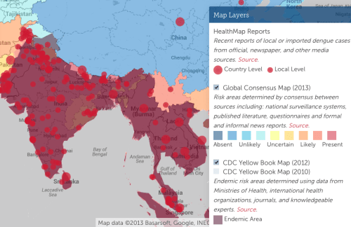 Click on image to see an interactive Dengue map of the word.