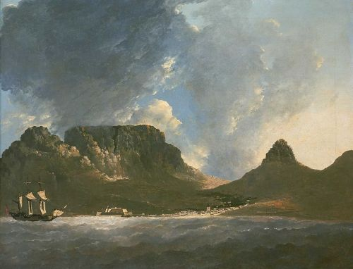 Table Mountain from Capt. Cook's ship HMS Resolution by William Hodges (1772) Via Wikipedia