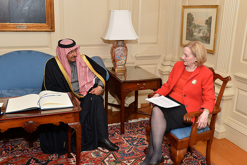 Assistant Secretary of State for Near Eastern Affairs Anne Patterson meets with Saudi Interior Foreign Minister Mohammed bin Nayef at the U.S. Department of State in Washington, D.C., on February 11, 2014. [State Department photo/ Public Domain]