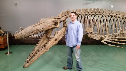 Principal Officer Chris Gunning during his visit to the Canadian Fossil Discover Centre in Morden, Manitoba, Canada