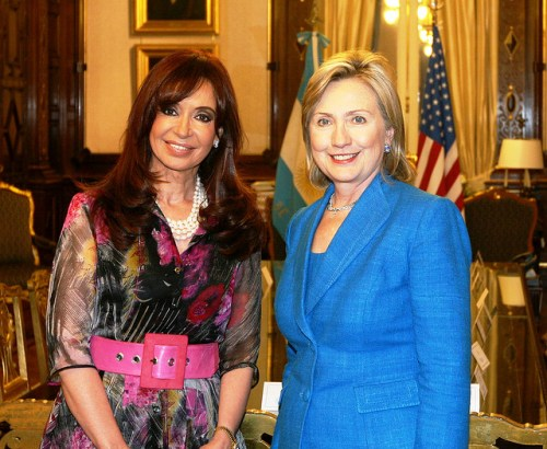 Secretary Clinton With Argentine President Cristina Fernandez de Kirchner  U.S. Secretary of State Hillary Rodham Clinton poses with Argentine President Cristina Fernandez de Kirchner following a press conference in Buenos Aires, Argentina March 1, 2010. [State Department Photo/Public Domain]