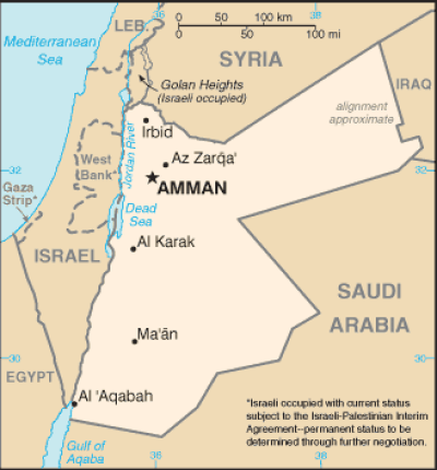 Jordan Map via CIA World Factbook