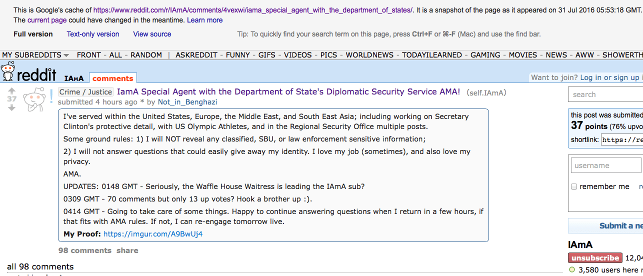 IAmA Special Agent With Diplomatic Security AMA: Agent Gets