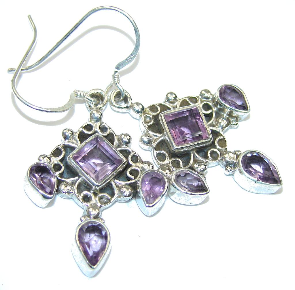 Faceted Pink Amethyst Sterling Silver earrings