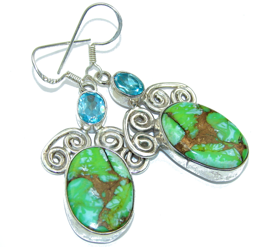 Excellent Copper Green Turquoise Sterling Silver earrings
