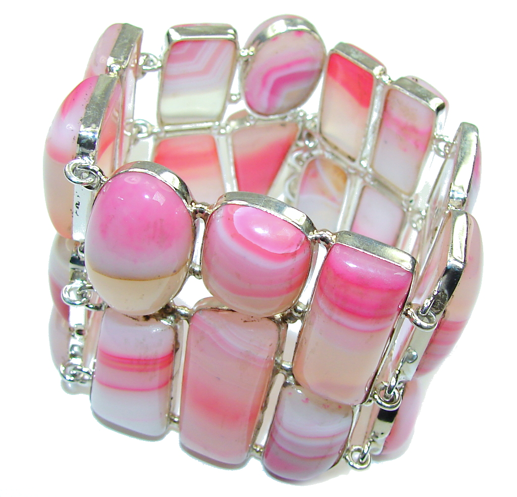 Path Of Life!! Pink Botswana Agate Sterling Silver Bracelet