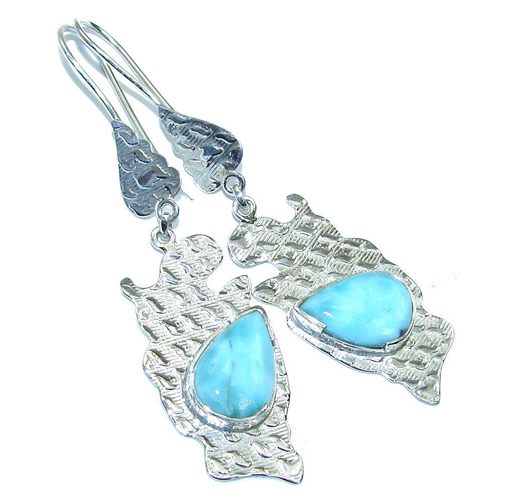 Exotic AAA Blue Larimar Sterling Silver earrings / Long
