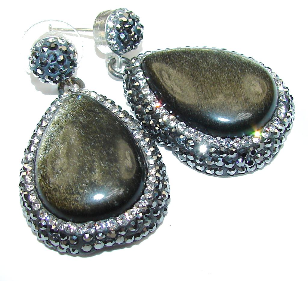 Big! Stunning! Black Cat''s Eye Sterling Silver earrings