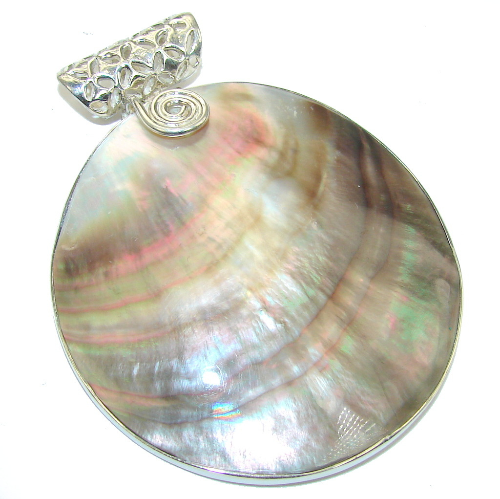 Big! Delicate Rainbow Abalone Sterling Silver Pendant