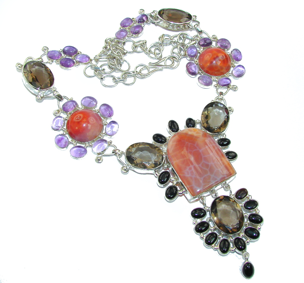 Chunky Aura Of Beauty Mexican Fire Agate Sterling Silver necklace