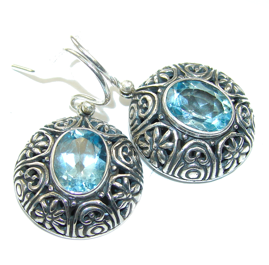 Delicate Swiss Blue Topaz Sterling Silver earrings
