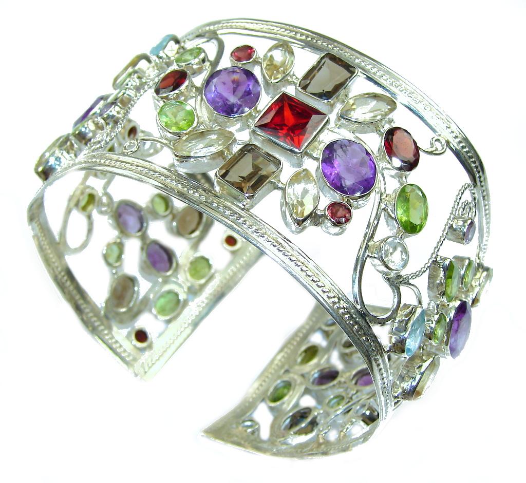 Aura Of Beauty! Multistone Sterling Silver Bracelet / Cuff