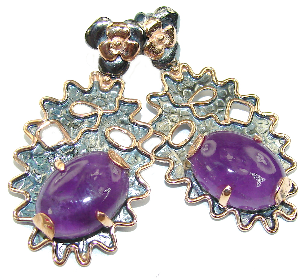 Perfect Gift! AAA Amethyst, Rose Gold Plated, Rhodium Plated Sterling Silver earrings